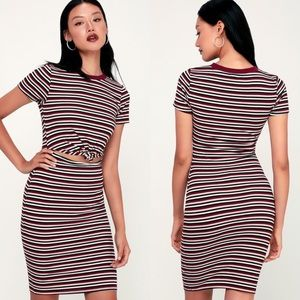 Lulus Mellie Striped Knotted Front Cutout Dress